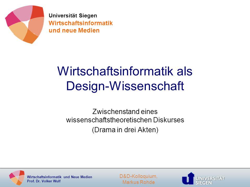 Wirtschaftsinformatik als Design-Wissenschaft