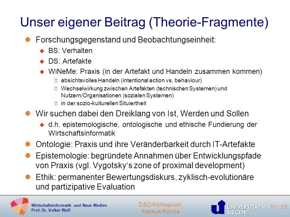 Unser eigener Beitrag (Theorie-Fragmente)