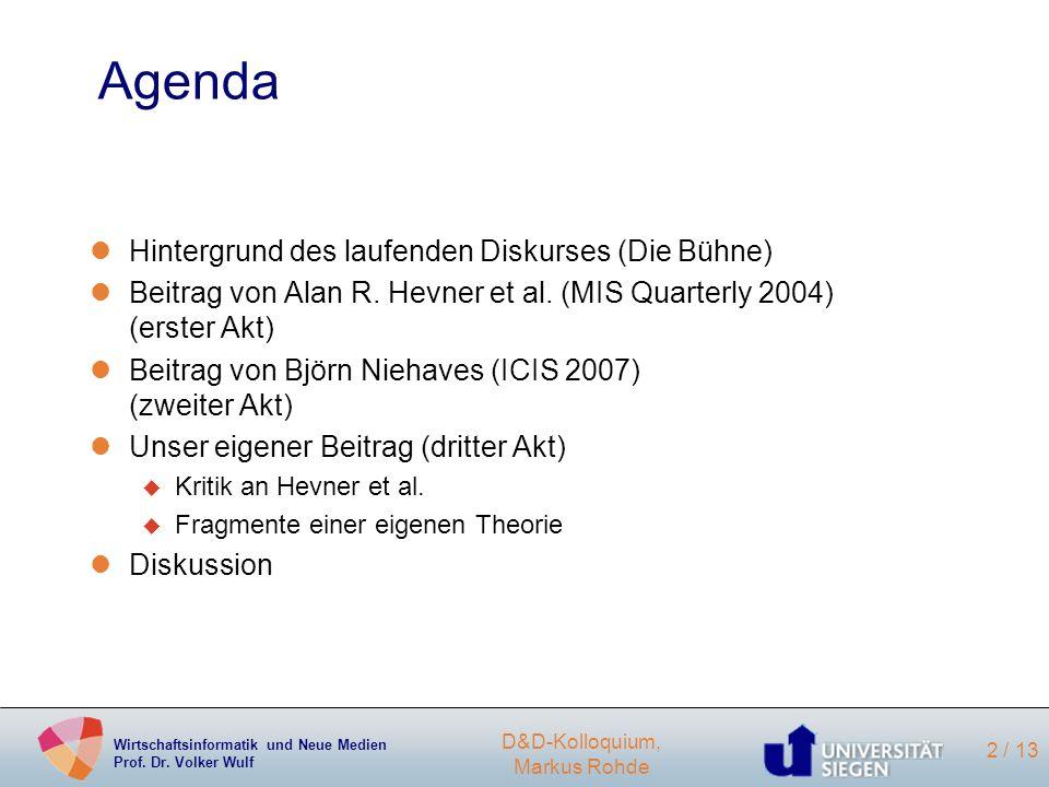 Agenda Hintergrund des laufenden Diskurses (Die Bühne)