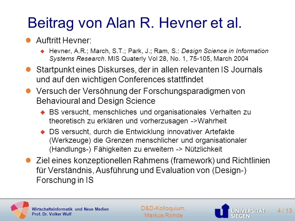 Beitrag von Alan R. Hevner et al.