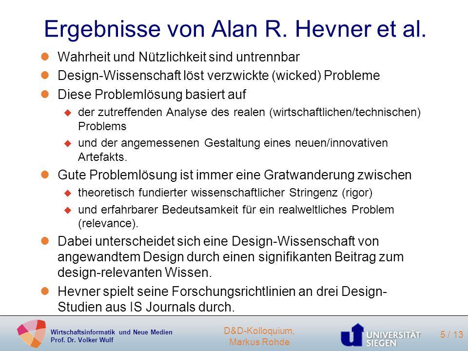 Ergebnisse von Alan R. Hevner et al.
