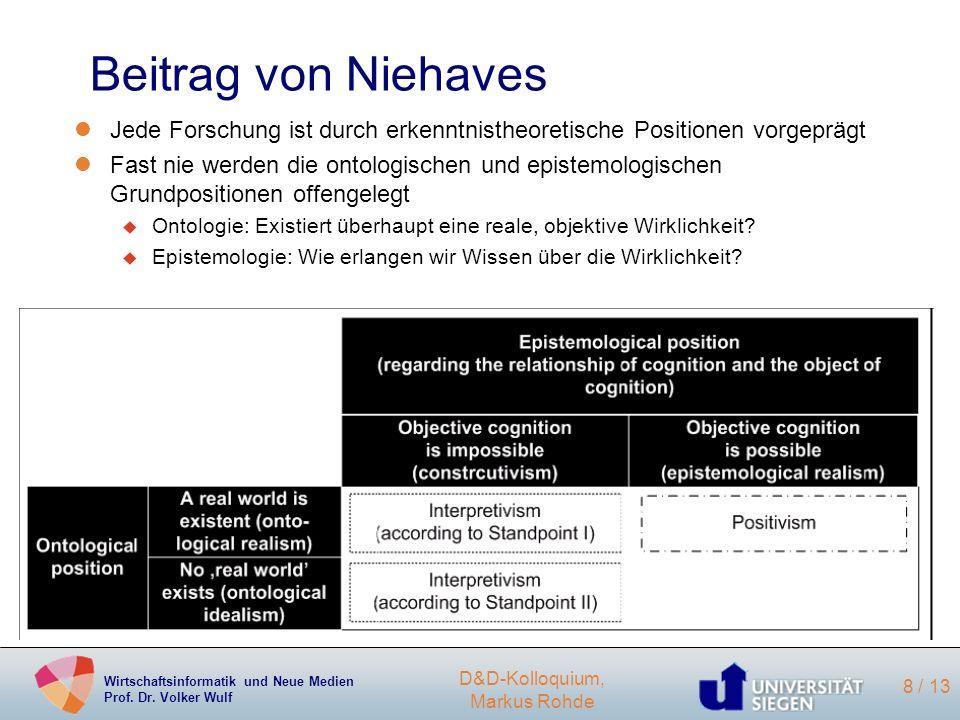 Beitrag von NiehavesJede Forschung ist durch erkenntnistheoretische Positionen vorgeprägt.