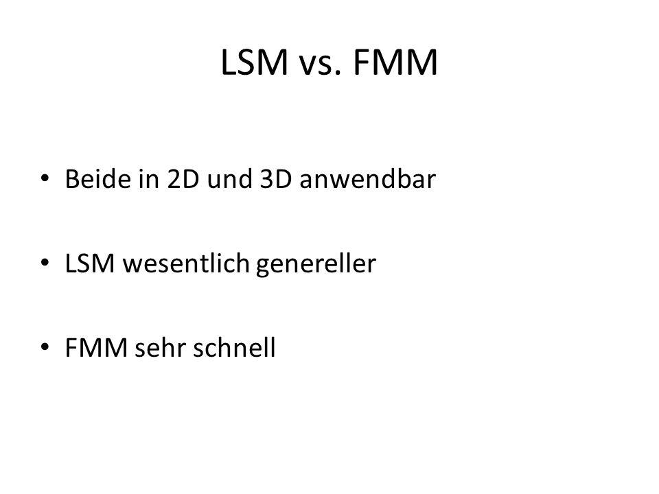 LSM vs. FMM Beide in 2D und 3D anwendbar LSM wesentlich genereller