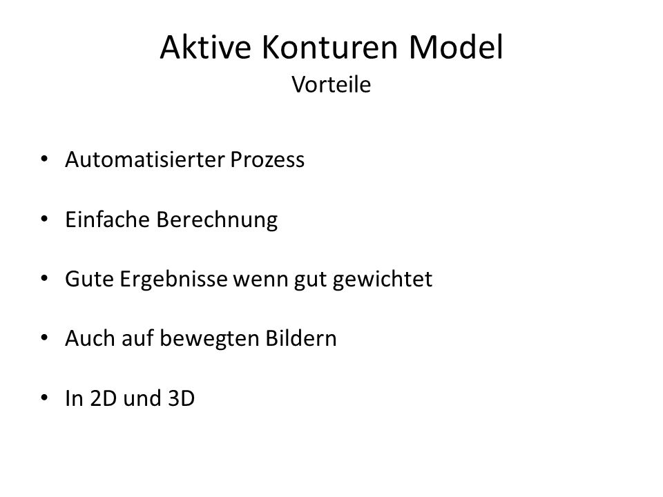 Aktive Konturen Model Vorteile