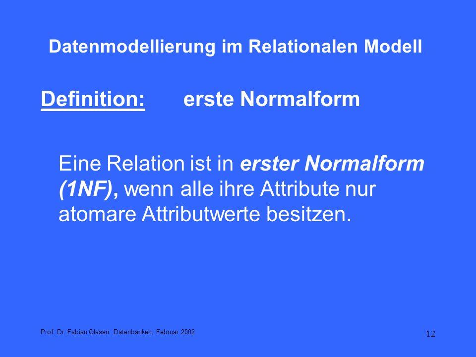 Datenmodellierung im Relationalen Modell