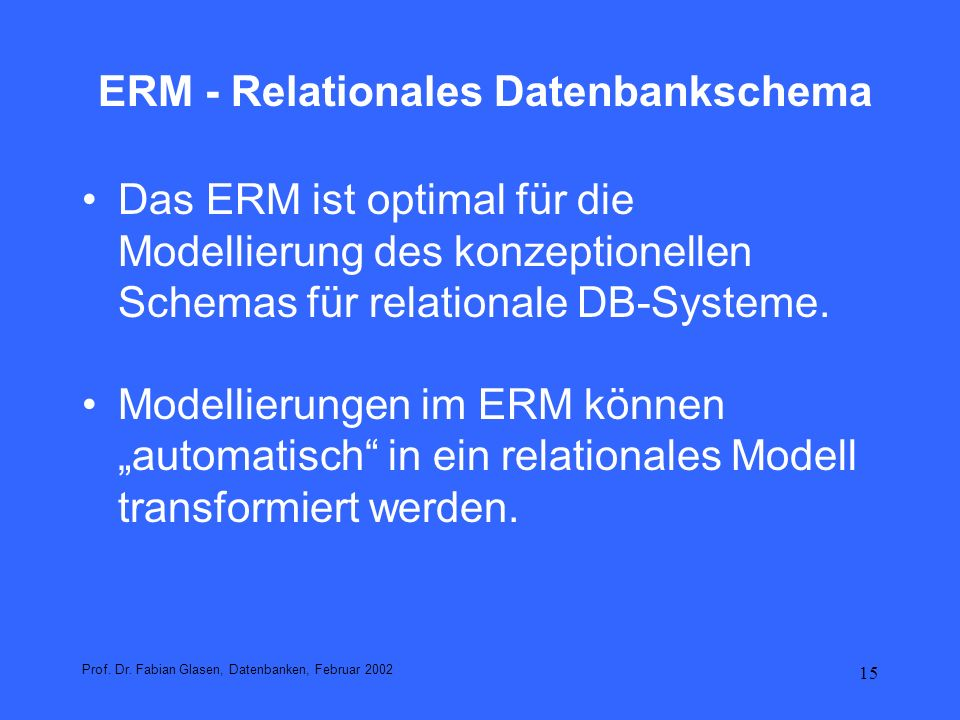 ERM - Relationales Datenbankschema