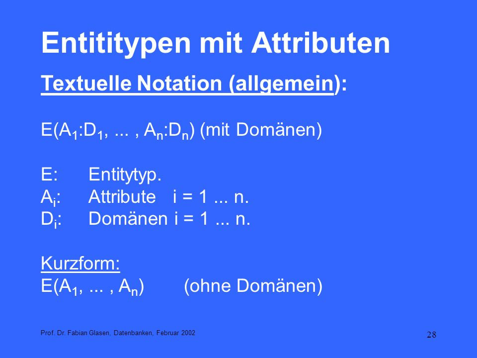 Entititypen mit Attributen