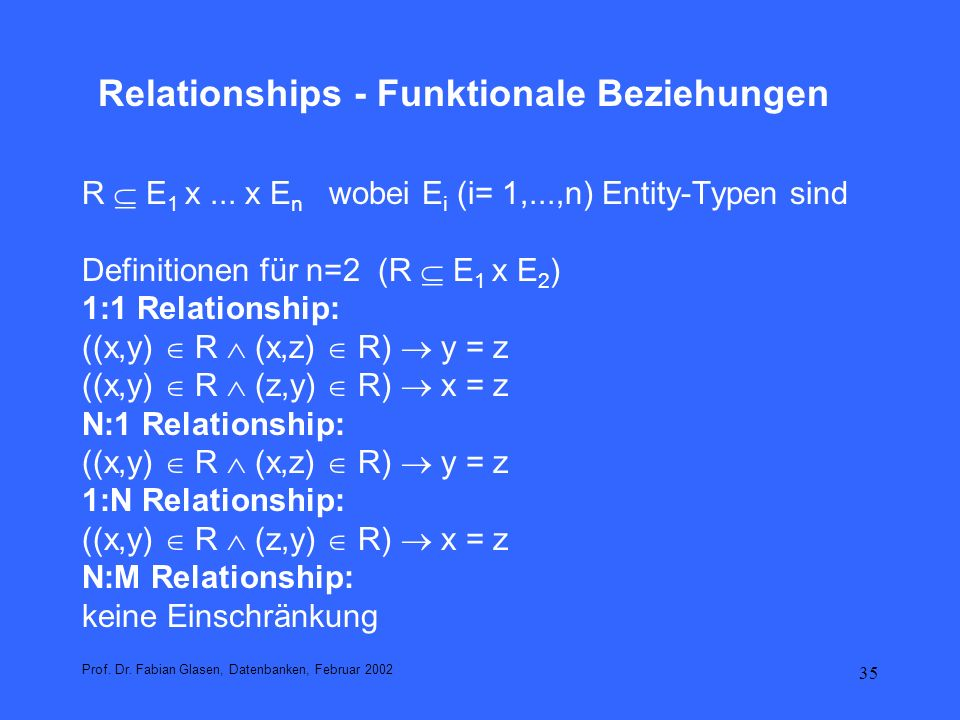 Relationships - Funktionale Beziehungen