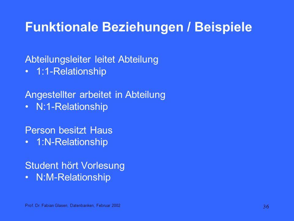 Funktionale Beziehungen / Beispiele