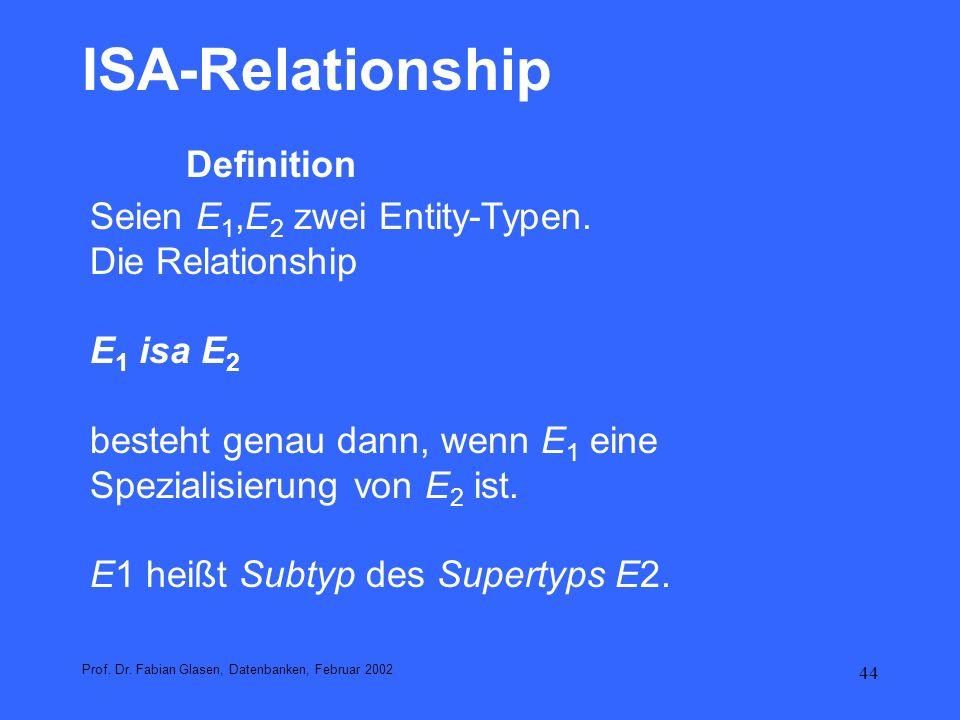 ISA-Relationship Definition Seien E1,E2 zwei Entity-Typen.