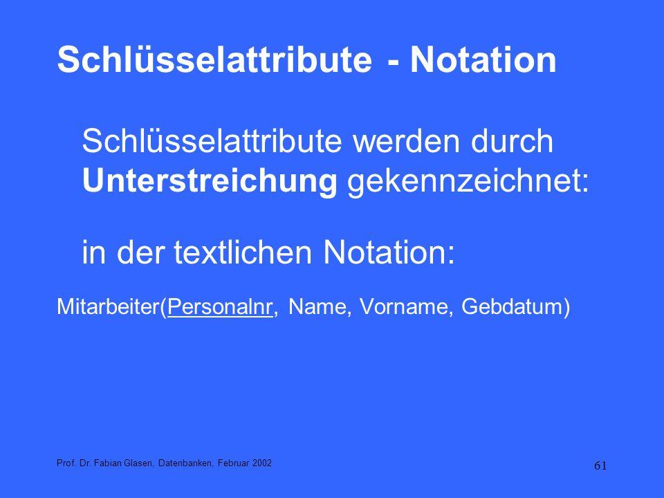 Schlüsselattribute - Notation