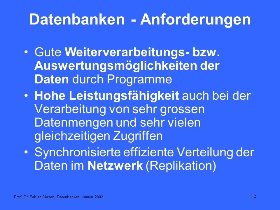 Datenbanken - Anforderungen