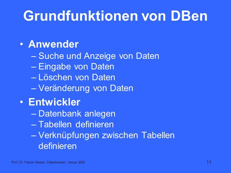 Grundfunktionen von DBen