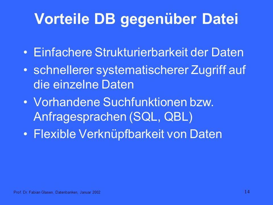 Vorteile DB gegenüber Datei
