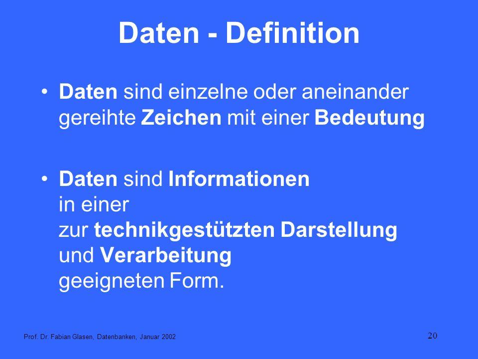 Daten - DefinitionDaten sind einzelne oder aneinander gereihte Zeichen mit einer Bedeutung.