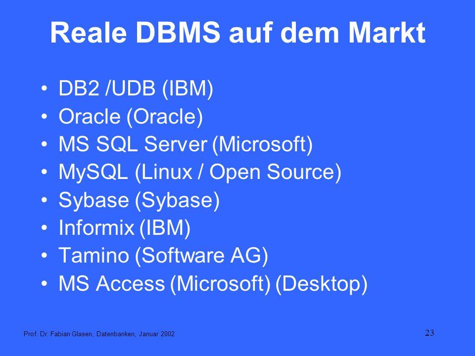 Reale DBMS auf dem Markt