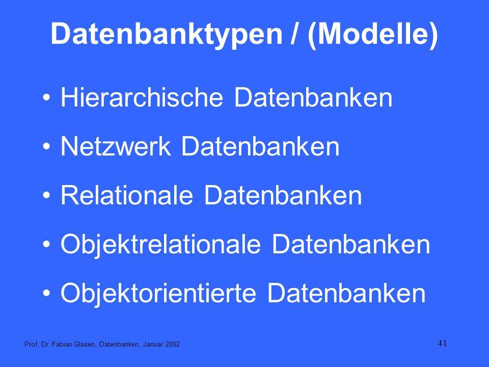 Datenbanktypen / (Modelle)