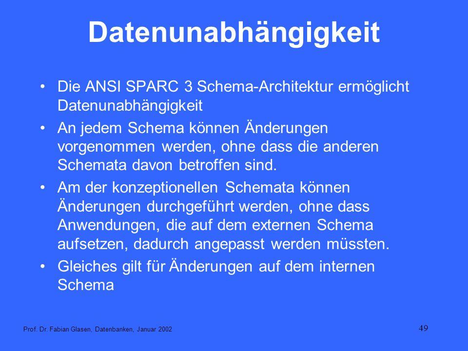DatenunabhängigkeitDie ANSI SPARC 3 Schema-Architektur ermöglicht Datenunabhängigkeit.