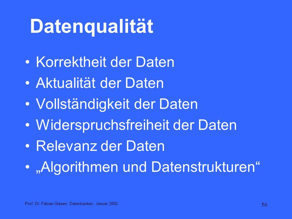 Datenqualität Korrektheit der Daten Aktualität der Daten