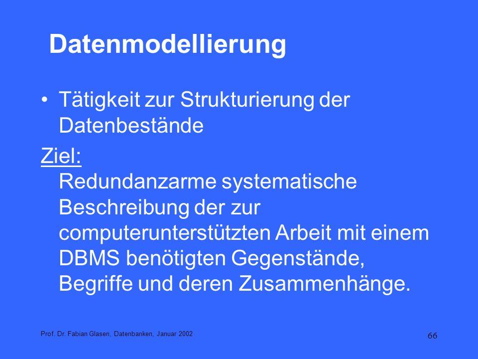 Datenmodellierung Tätigkeit zur Strukturierung der Datenbestände