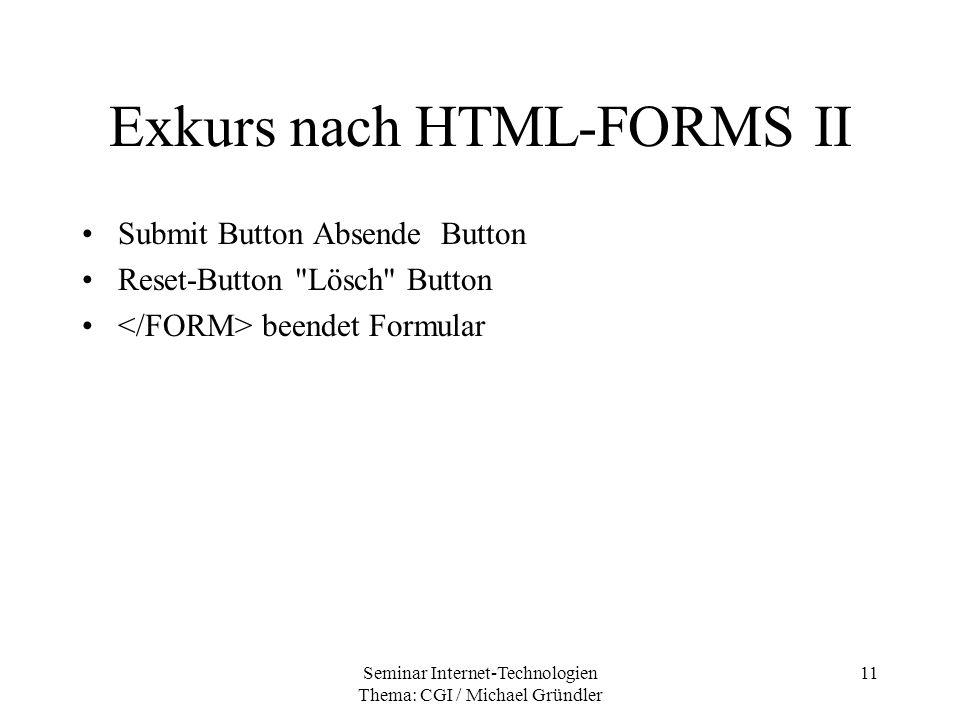 Exkurs nach HTML-FORMS II