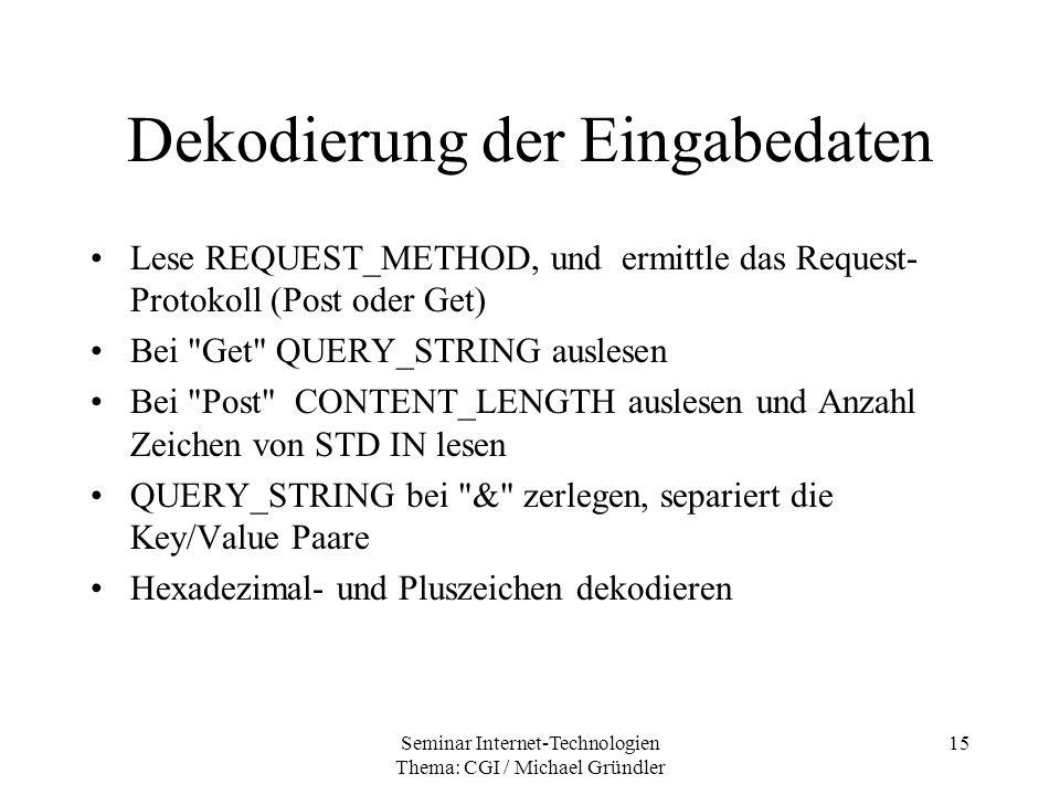 Dekodierung der Eingabedaten