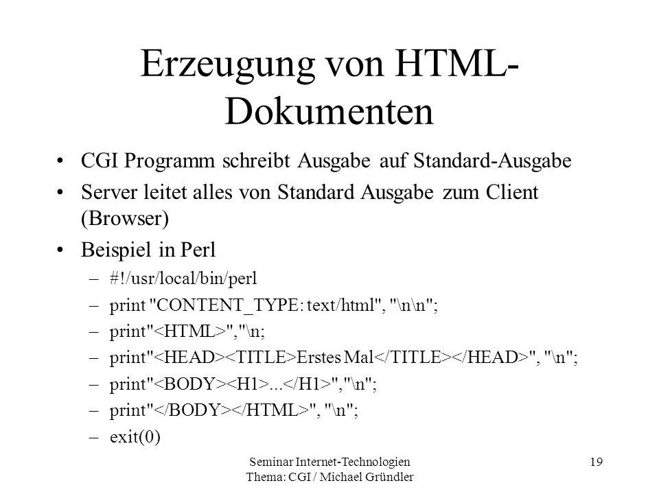 Erzeugung von HTML-Dokumenten