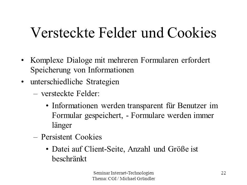 Versteckte Felder und Cookies
