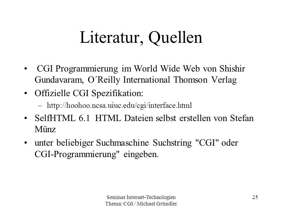 Seminar Internet-Technologien Thema: CGI / Michael Gründler