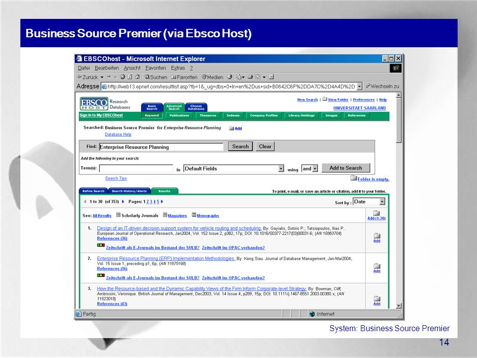 Business Source Premier (via Ebsco Host)