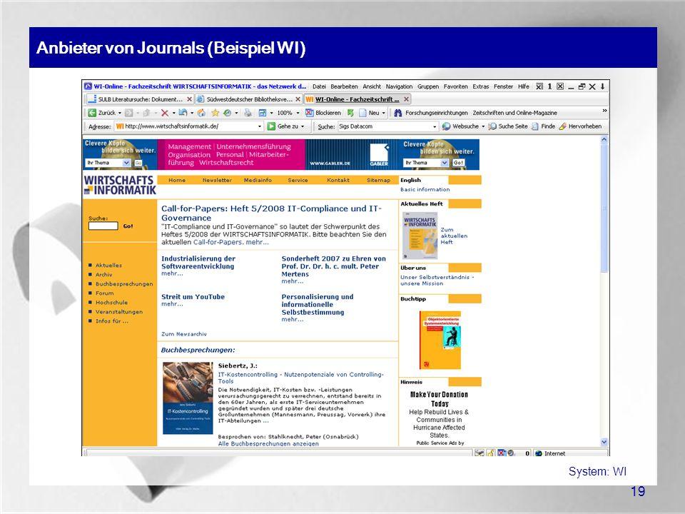 Anbieter von Journals (Beispiel WI)