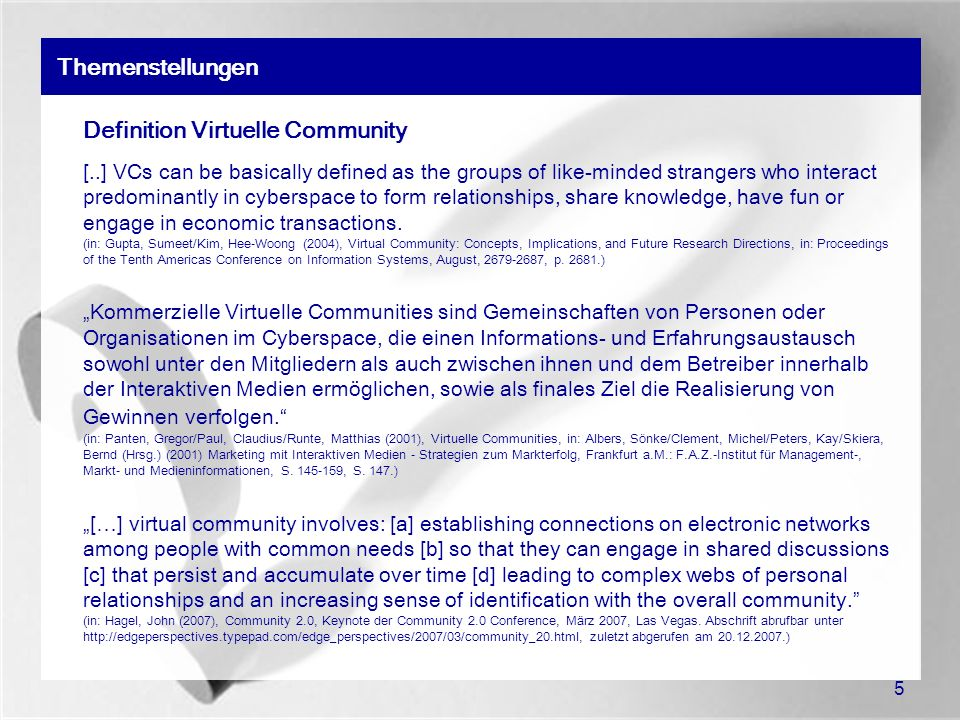 Definition Virtuelle Community