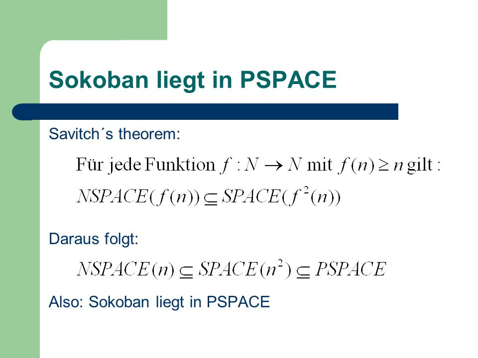 Sokoban liegt in PSPACE