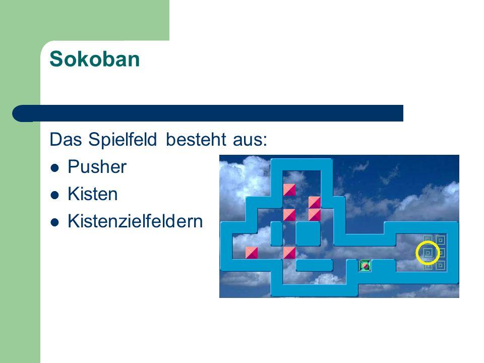 Sokoban Das Spielfeld besteht aus: Pusher Kisten Kistenzielfeldern