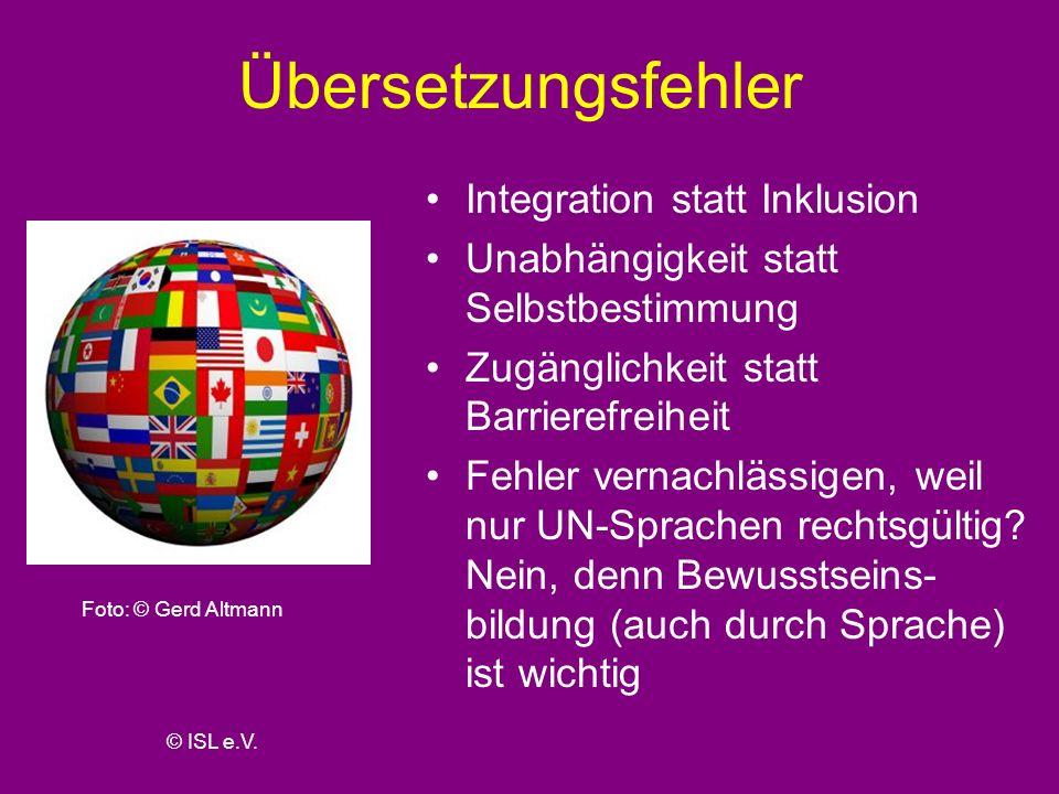 Übersetzungsfehler Integration statt Inklusion
