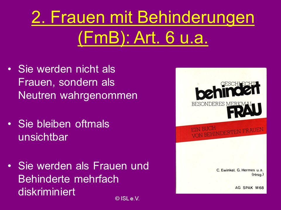 2. Frauen mit Behinderungen (FmB): Art. 6 u.a.