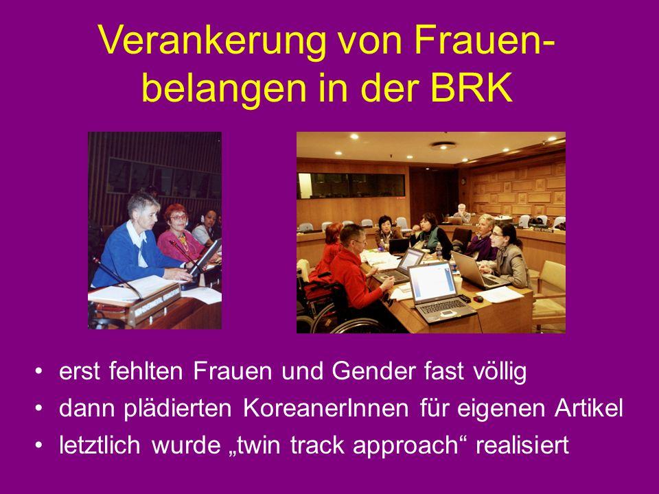 Verankerung von Frauen- belangen in der BRK