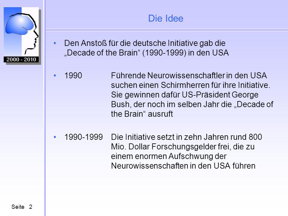 Die Idee Den Anstoß für die deutsche Initiative gab die