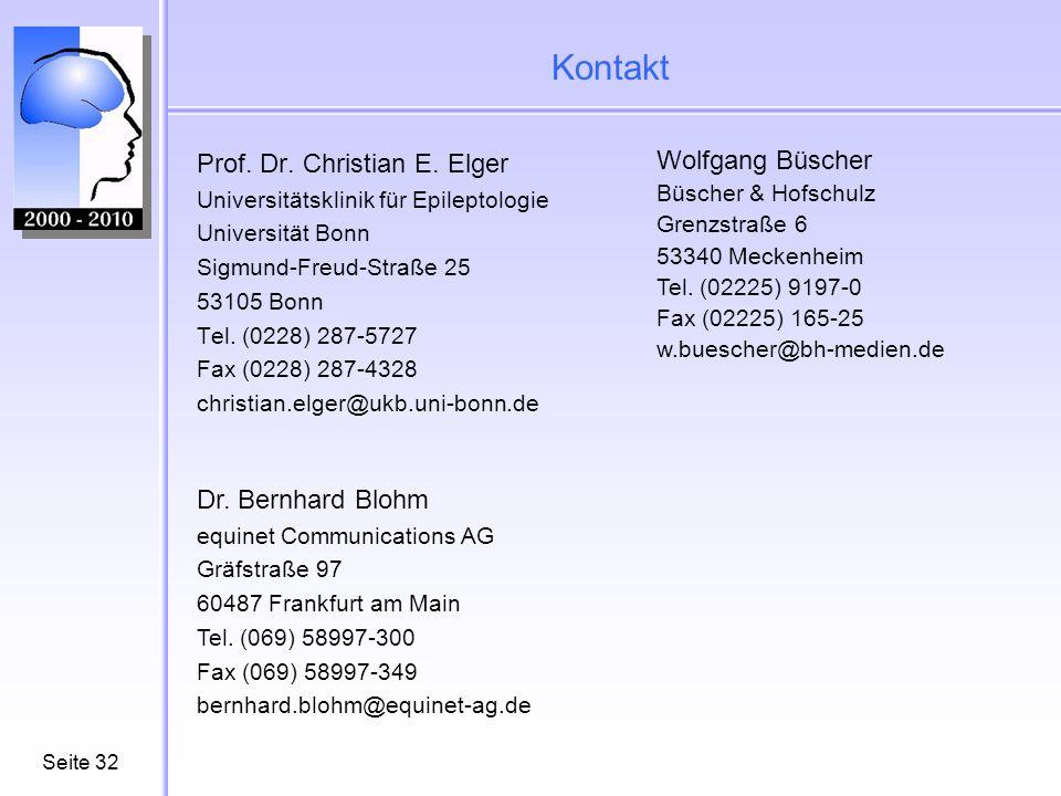 Kontakt Prof. Dr. Christian E. Elger Wolfgang Büscher