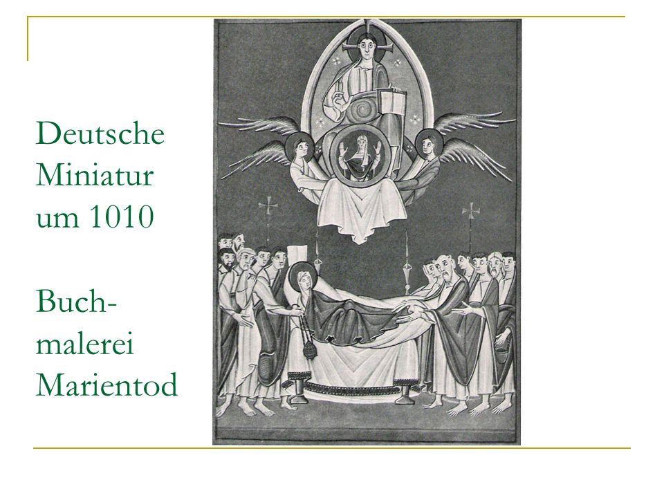 Deutsche Miniatur um 1010 Buch-malerei Marientod