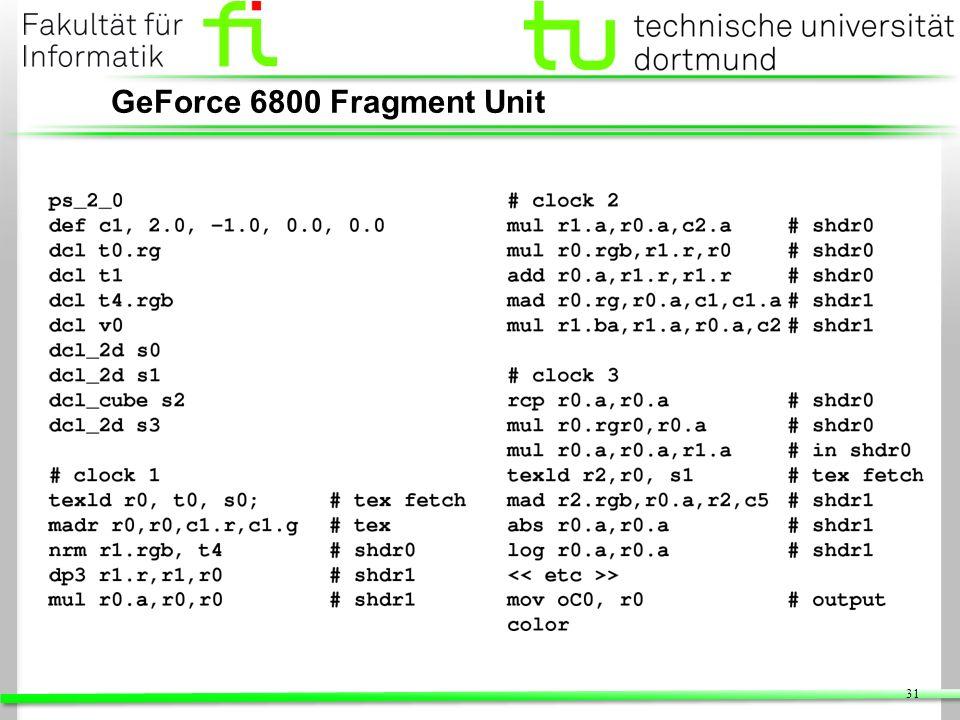 GeForce 6800 Fragment Unit