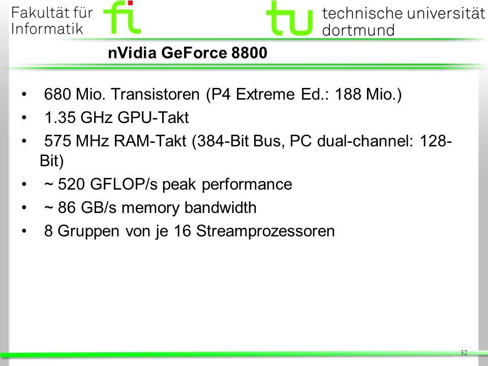 nVidia GeForce 8800 680 Mio. Transistoren (P4 Extreme Ed.: 188 Mio.) 1.35 GHz GPU-Takt. 575 MHz RAM-Takt (384-Bit Bus, PC dual-channel: 128-Bit)