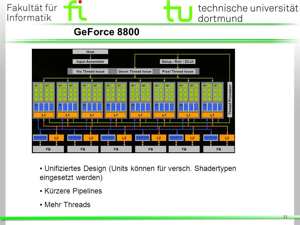 GeForce 8800 Unifiziertes Design (Units können für versch. Shadertypen eingesetzt werden) Kürzere Pipelines.