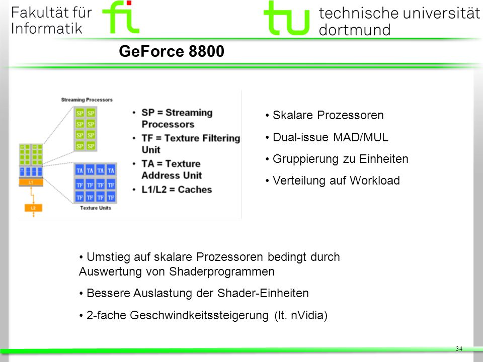 GeForce 8800 Skalare Prozessoren Dual-issue MAD/MUL