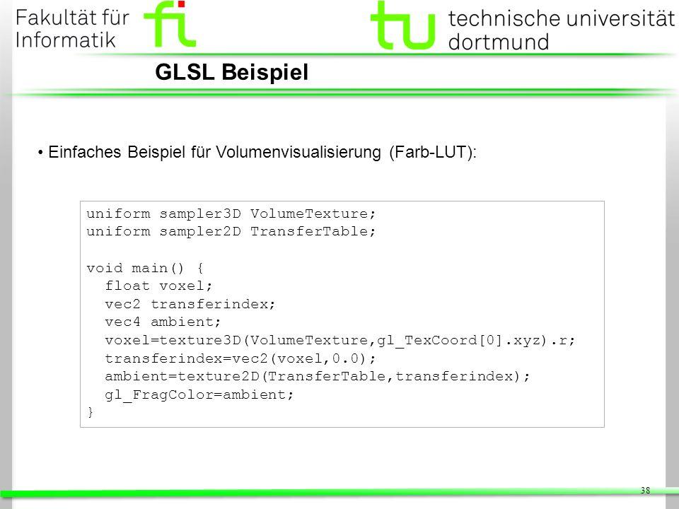 GLSL Beispiel Einfaches Beispiel für Volumenvisualisierung (Farb-LUT):