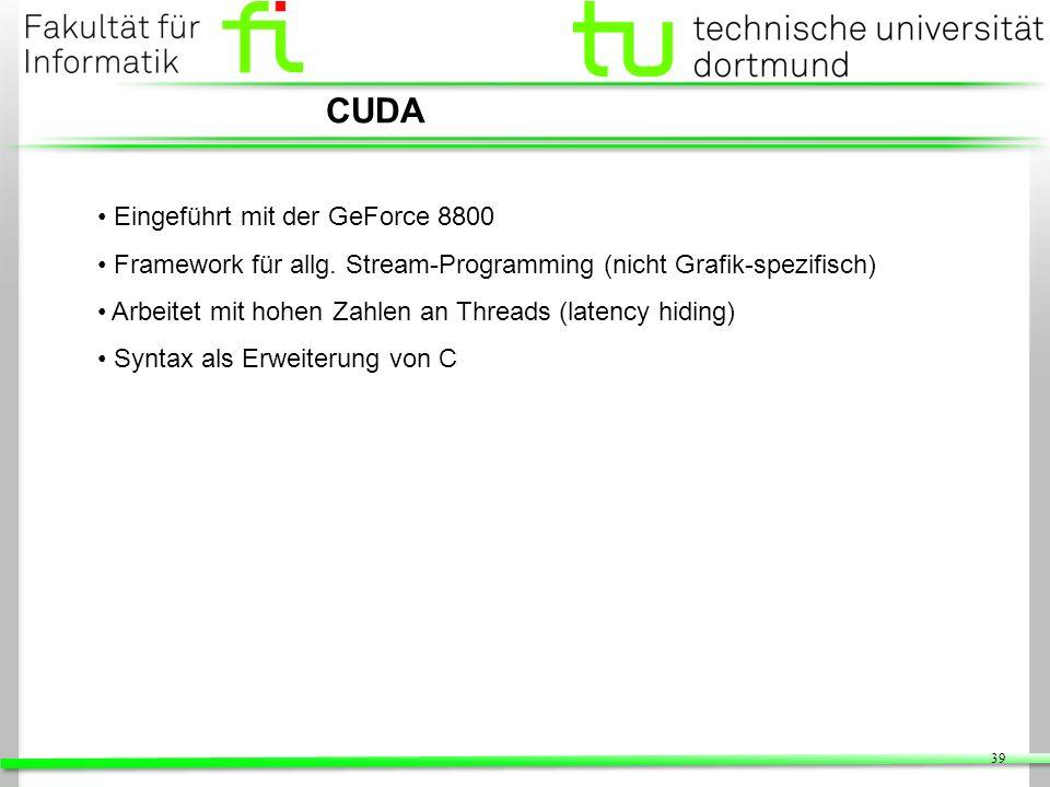 CUDA Eingeführt mit der GeForce 8800