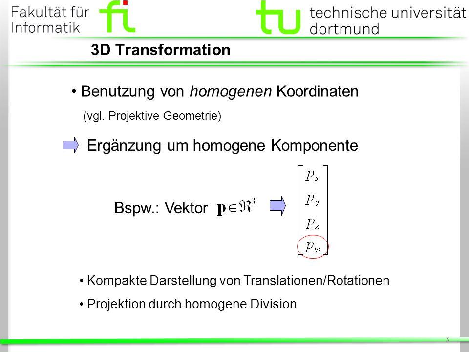 Benutzung von homogenen Koordinaten