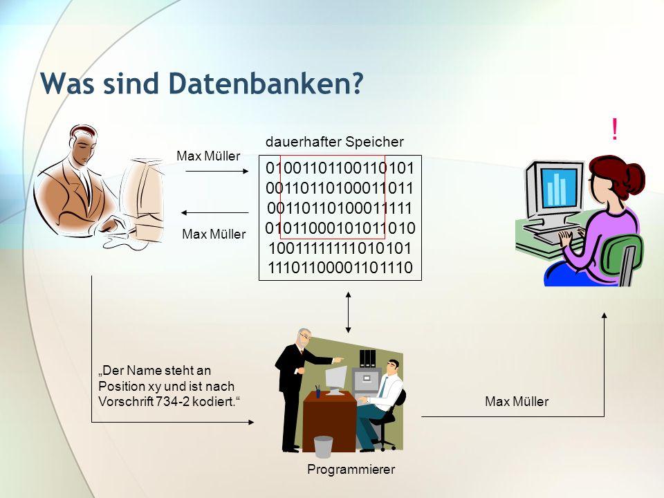 Was sind Datenbanken ! dauerhafter Speicher. Max Müller. 01001101100110101. 00110110100011011.