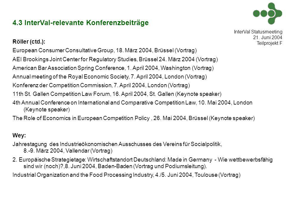 4.3 InterVal-relevante Konferenzbeiträge