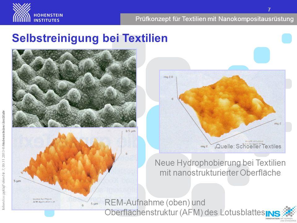 Selbstreinigung bei Textilien
